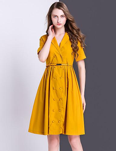 Damen A-Linie Kleid-Ausgehen Lässig/Alltäglich Einfach Solide Hemdkragen Übers Knie Kurzarm Baumwolle Kunstseide Sommer Hohe Hüfthöhe