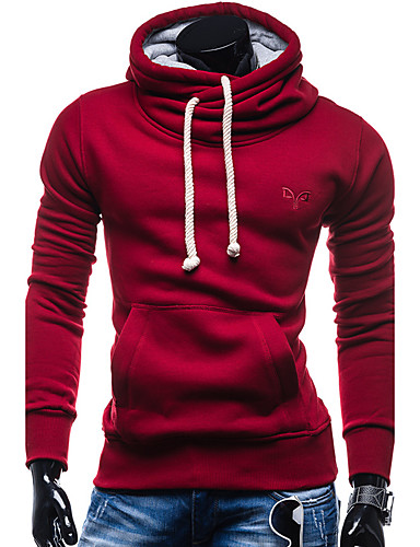 Men's Sports Long Sleeves Hoodie - Solid Colored Hooded