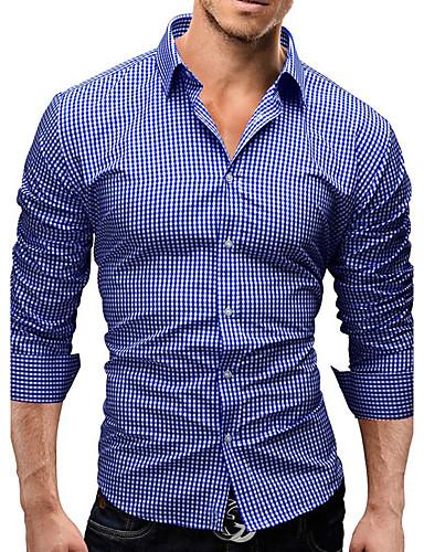 Homens Camisa Social Activo / Moda de Rua Sólido Delgado / Manga Longa