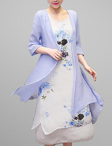 Damen Hülle Kleid-Ausgehen Lässig/Alltäglich Retro Anspruchsvoll Druck Rundhalsausschnitt Midi ¾-Arm Baumwolle Kunstseide Alle Saisons