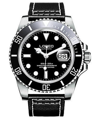 Pánské Módní hodinky mechanické hodinky Automatické natahování Voděodolné Kůže Kapela Černá Orange Hnědá