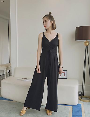 Damen Street Schick Hohe Hüfthöhe Mikro-elastisch Overall Bootcut Hose Solide