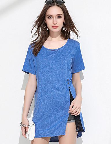 Dámské Jednobarevné Jednoduché Tričko Akryl Kulatý Krátký rukáv