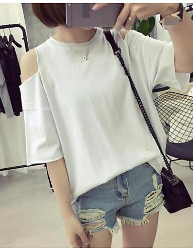 Damen Solide Einfach Lässig/Alltäglich T-shirt,Rundhalsausschnitt Frühling Sommer ½ Länge Ärmel Baumwolle