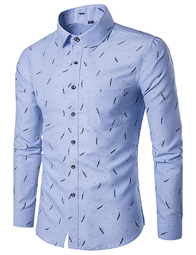 Men's Slim Shirt - Geometric Print Classic Collar