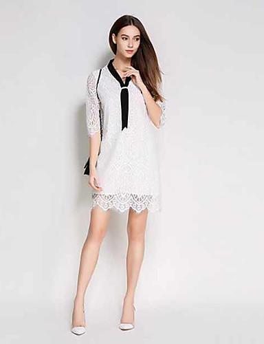 Damen Etuikleid Hülle Spitze Kleid-Lässig/Alltäglich Solide V-Ausschnitt Knielang Kurzarm Baumwolle Polyester Sommer Hohe Hüfthöhe