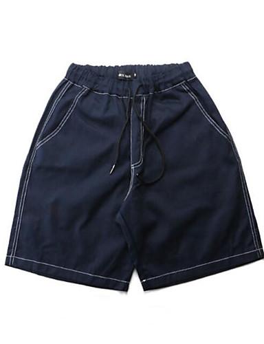 Pánské Jednoduchý Mikro elastické Volné Kalhoty Rovné Mid Rise Jednobarevné