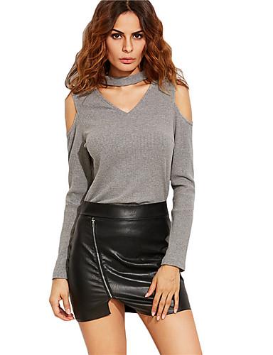 Mulheres Camiseta Vazado, Sólido Malha Poliéster