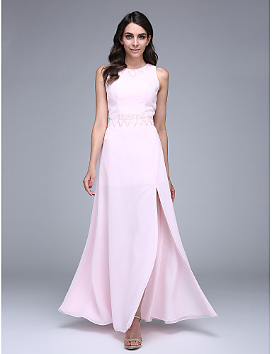 Sheath / Column Jewel Neck Floor Length Chiffon Prom Formal Evening Dress with Beading Sequins by TS Couture®