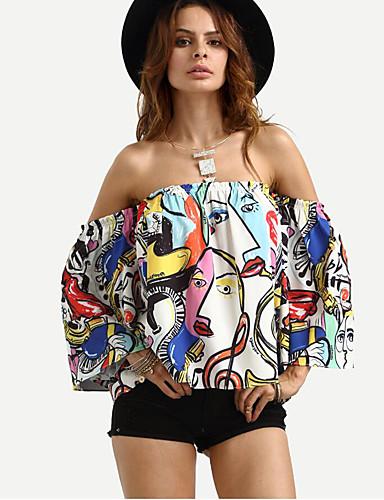 Mulheres Camisa Social - Para Noite Feriado Moda de Rua Estampado Decote Canoa