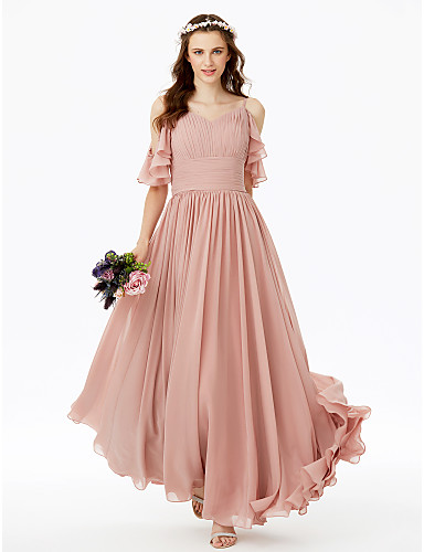 d875b0479b A-Line Spaghetti Straps Floor Length Chiffon Bridesmaid Dress with Bow(s)  Sash   Ribbon Pleats Ruched by LAN TING BRIDE®