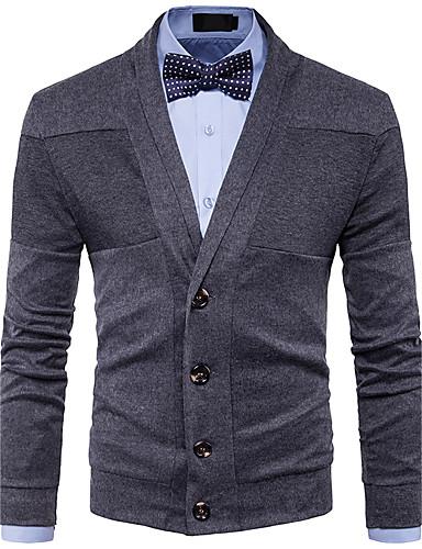 Men's Weekend Long Sleeves Wool Cardigan - Solid Colored V Neck