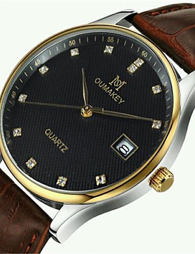 Homens Quartzo Relógio de Pulso Calendário Impermeável Couro Banda Amuleto Fashion Preta Marrom