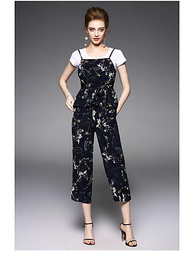 Dámské Květinový Denní Moderní Trička Kalhoty Obleky-Léto Kulatý Krátký rukáv