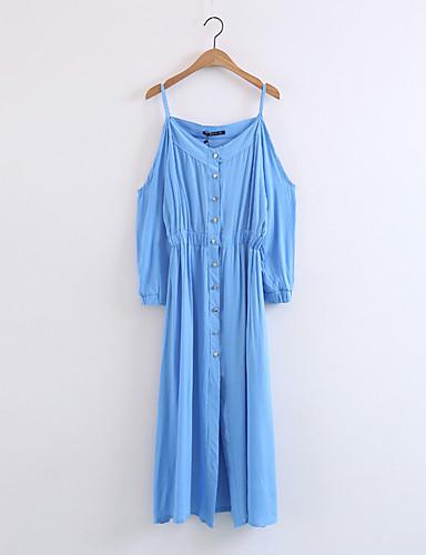 Damen Lose Etuikleid Kleid-Ausgehen Lässig/Alltäglich Einfach Street Schick Solide Gurt Midi Langarm Seide Baumwolle Sommer Herbst