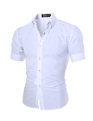 Pánské Jednobarevné Běžné/Denní Čínské vzory Košile Bavlna Klasický límeček Krátký rukáv