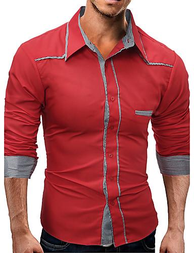 Pánské - Barevné bloky Čínské vzory Košile Bavlna Klasický límeček