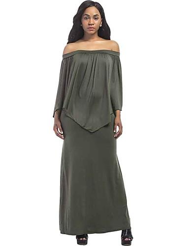 Mulheres Tamanhos Grandes Moda de Rua Solto Vestido - Frufru, Sólido Decote Canoa Longo