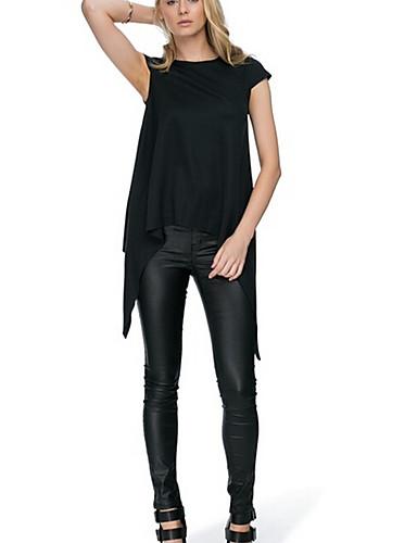 Damen Solide Einfach Lässig/Alltäglich T-shirt,Rundhalsausschnitt Kurzarm Leinen