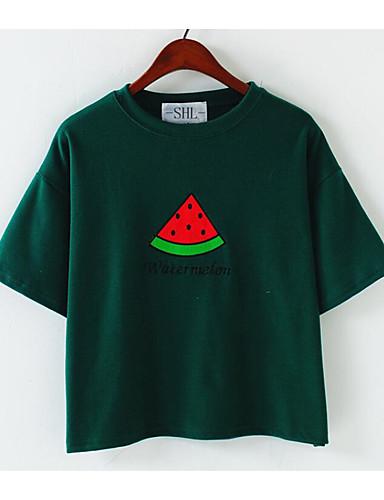 Damen Solide Geometrisch Einfach Lässig/Alltäglich T-shirt,Rundhalsausschnitt Kurzarm Baumwolle