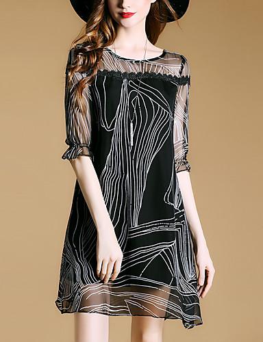Damen Lose Kleid-Ausgehen Street Schick Druck Rundhalsausschnitt Übers Knie ¾-Arm Polyester Sommer Mittlere Hüfthöhe Mikro-elastisch