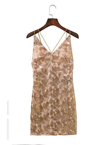 Damen Lose Etuikleid Spitze Kleid-Ausgehen Lässig/Alltäglich Einfach Street Schick Solide Druck Lace Printing Gurt Übers Knie Ärmellos
