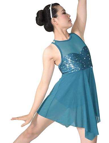 preiswerte Ballettbekleidung-Ballett Kleider Damen Leistung Nylon / Elasthan / Pailletten Paillette / Drapiert Ärmellos Normal Kleid / Kopfbedeckung