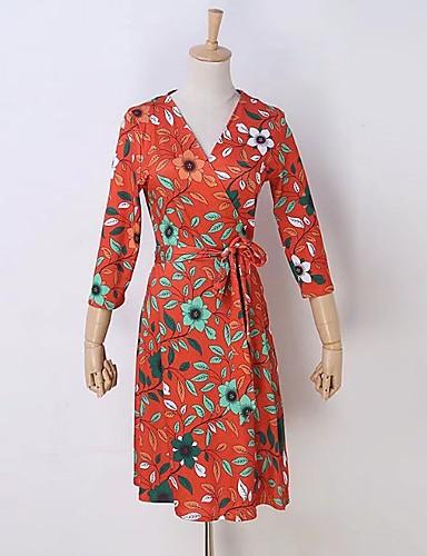Damen A-Linie Lose Etuikleid Kleid Einfach Street Schick Druck V-Ausschnitt Übers Knie Seide Baumwolle Sommer Herbst Mittlere Hüfthöhe