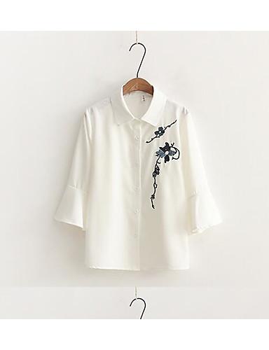 Dámské Jednobarevné Tisk Běžné/Denní Jednoduché Košile-Léto Bavlna Košilový límec Tříčtvrteční rukáv Tenké
