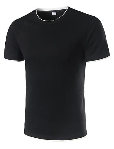 Homens Tamanhos Grandes Camiseta Paetês, Sólido Algodão Decote Redondo