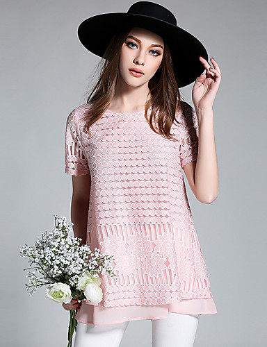 Damen Solide Einfach T-shirt,Rundhalsausschnitt Kurzarm Polyester
