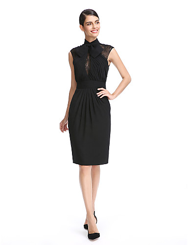 Tube / kolonne Højhalset Knælang Chiffon Lille sort kjole Cocktailparty Kjole med Blonde / Bælte / bånd / Sidedrapering ved TS Couture®