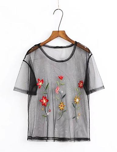 Damen Stickerei Einfach Sexy Street Schick Ausgehen Lässig/Alltäglich T-shirt,Rundhalsausschnitt Sommer Kurzarm Baumwolle Dünn Mittel