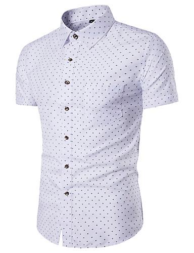 Pánské Geometrický Běžné/Denní Jednoduché Košile-Léto Polyester Košilový límec Krátký rukáv