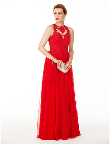 Linha A Decorado com Bijuteria Longo Tule Evento Formal Vestido com Apliques Botões Pregas de TS Couture®