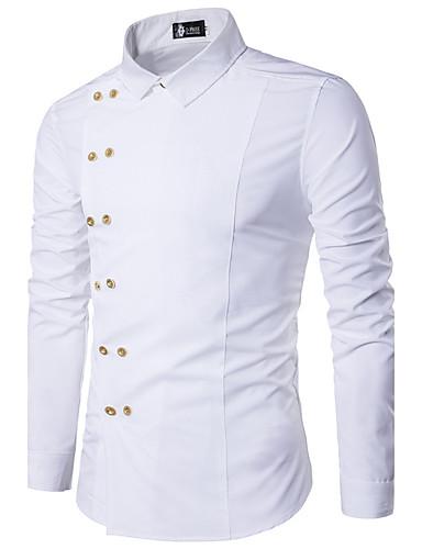 Bomull Tynn Skjorte - Ensfarget Vintage Fest Helg Herre