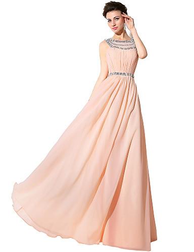 Eng anliegend Schmuck Boden-Länge Chiffon Formeller Abend Kleid mit Perlenstickerei Kristall Verzierung durch Sarahbridal