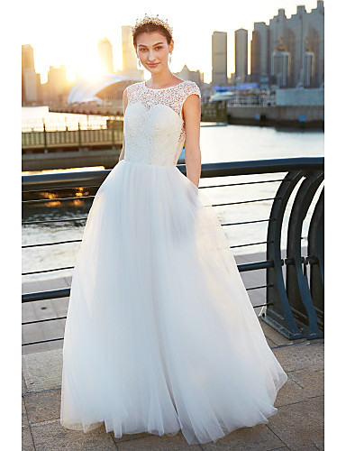 A-Line Scoop Neck Sweep / Brush Train Tulle Made-To-Measure Wedding Dresses with Lace by LAN TING BRIDE® / See-Through