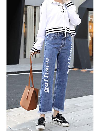 Dámské Jednoduchý Mikro elastické Džíny Kalhoty Volné Mid Rise Jednobarevné