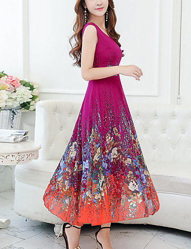 e96028a26217 Women's Floral Plus Size Holiday Chiffon Swing Dress - Floral Print V Neck  Summer Red Purple Yellow XXL XXXL XXXXL