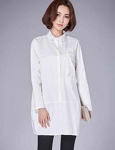 Damen Druck Einfach Lässig/Alltäglich Hemd,Ständer Langarm Baumwolle