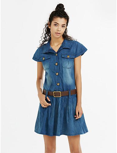 Kadın Günlük/Sade Büyük Beden Sokak Şıklığı Kot Kumaşı Elbise Solid,Kısa Kollu Gömlek Yaka Diz üstü Pamuklu Yaz Normal Bel Esnemez Orta