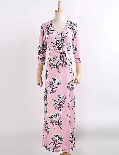 Damen A-Linie Lose Etuikleid Kleid Einfach Street Schick Blumen V-Ausschnitt Maxi Seide Baumwolle Sommer Herbst Mittlere Hüfthöhe