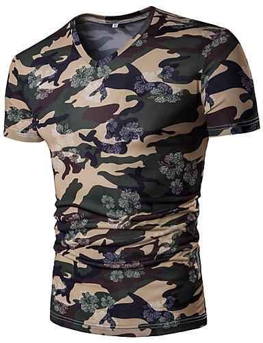 Herrn Tarnfarben - Chinoiserie / Militär T-shirt, V-Ausschnitt / Kurzarm
