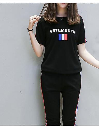 Damen Solide / Buchstabe - Freizeit Baumwolle T-shirt