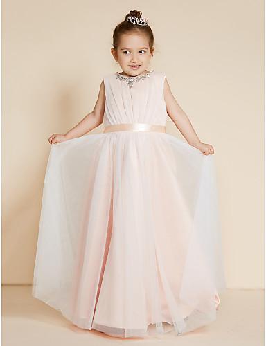 Krój A / Księżniczka Sięgająca podłoża Sukienka dla dziewczynki z kwiatami - Szyfon / Satyna Bez rękawów Półgolf z Koraliki / Szarfy / Wstążki przez LAN TING BRIDE®