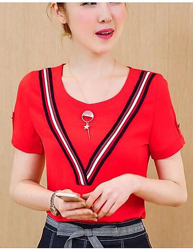 Dámské - Proužky Na běžné nošení Tričko Bavlna