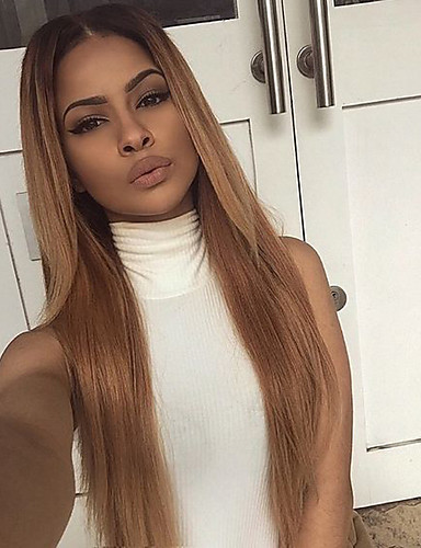 povoljno Ljepota i kosa-Ljudska kosa Perika s prednjom čipkom bez ljepila Lace Front Perika Kardashian stil Brazilska kosa Ravan kroj Perika 130% Gustoća kose s dječjom kosom Ombre Prirodna linija za kosu Afro-američka