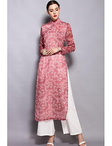 Damen Chinoiserie Hemd Gespleisst Druck Ständer Hose