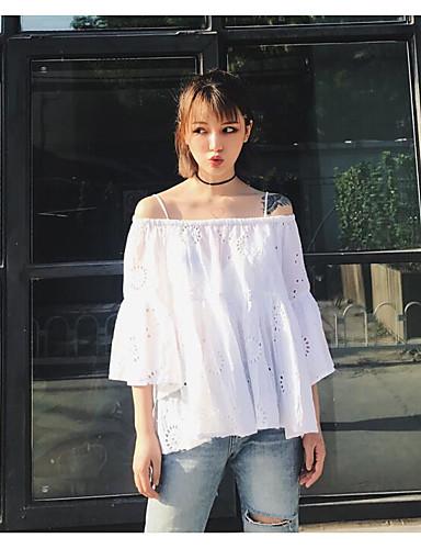 Damen Solide Einfach Lässig/Alltäglich T-shirt,Bateau Sommer ½ Länge Ärmel Polyester